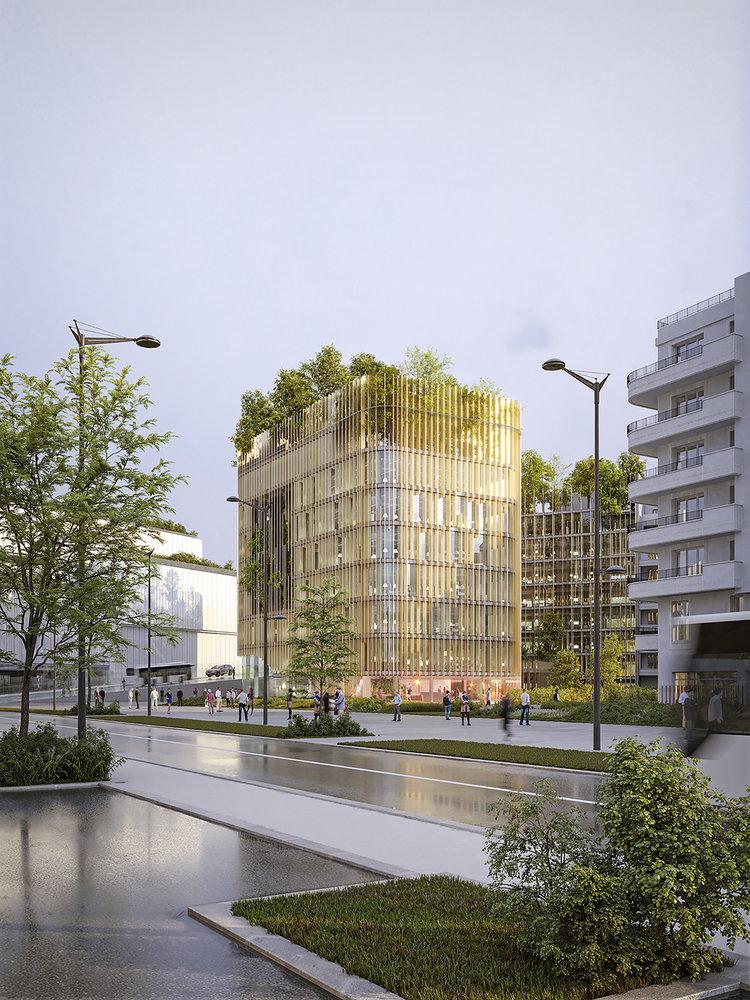 Exterior futura sede corporativa del BNP Paribas, el banco nacional de Francia.