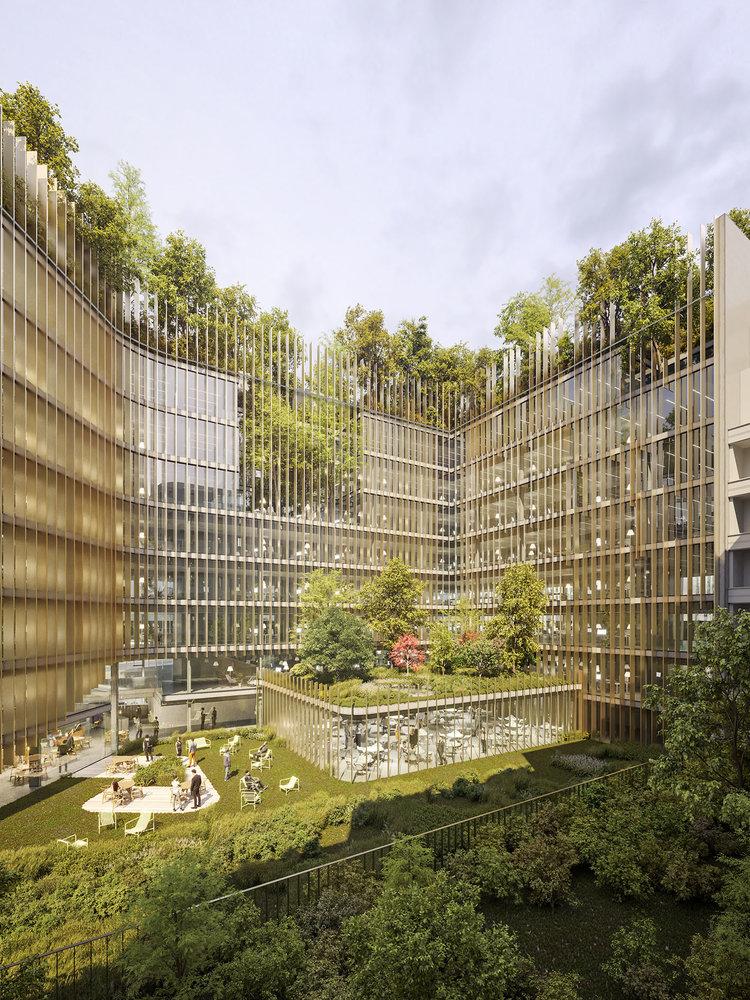 Patio futura sede corporativa del BNP Paribas, el banco nacional de Francia.